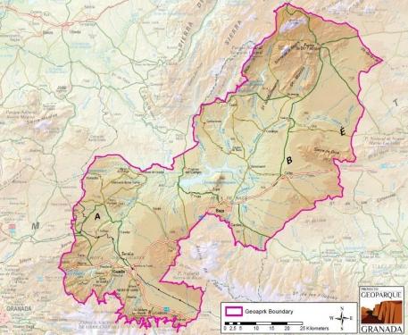 Delimitación Geoparque de Granada